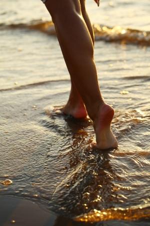 descalza: Piernas hermosas de la mujer en la playa al atardecer