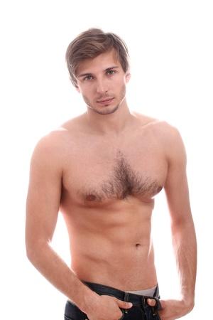 desnudo masculino: Chico guapo con el torso desnudo sobre fondo blanco
