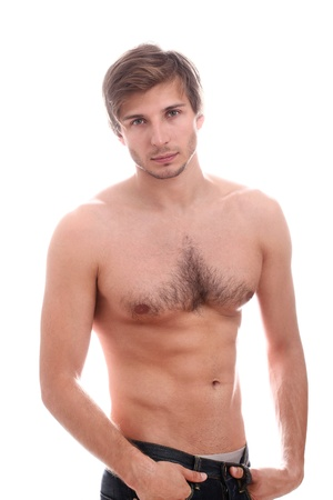 naked abs: Handsome guy with naked torso over white background Stock Photo