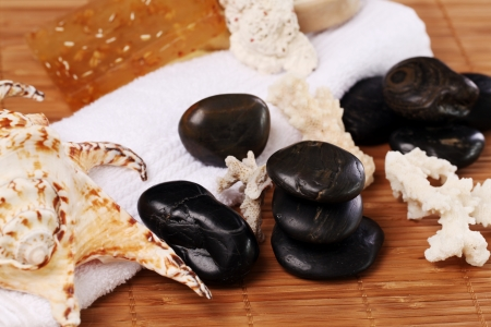close uo: Close uo of spa stones and sea shells on the table