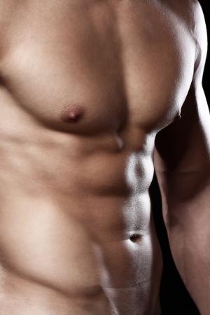 hombres sin camisa: Torso muscular y atractivo del hombre joven Foto de archivo