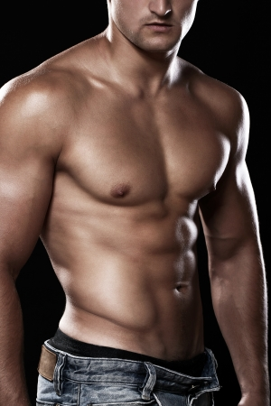 nude sport: Muscular and sexy torso of young man