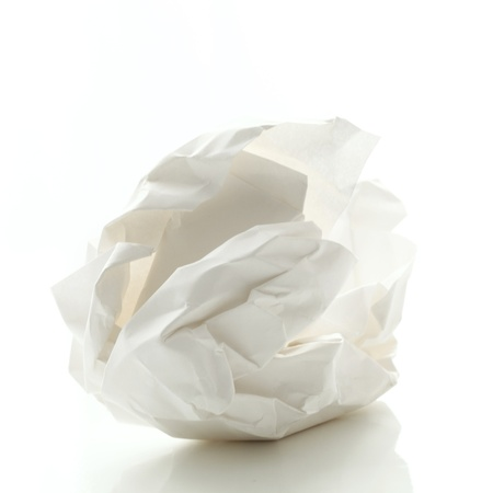 ball lump: Crumbled paper over white background