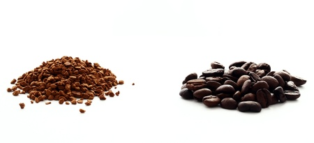 coffee grounds: Ground and instant coffee  over white background