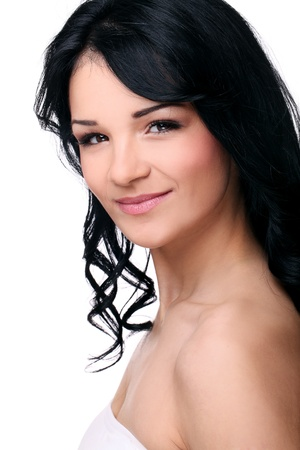 beautifull woman: Portrait of young and beautifull woman isolated on a white