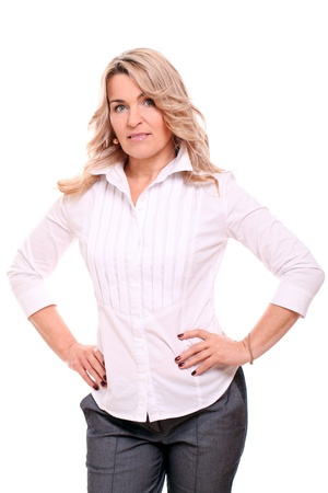 one year: Portrait of 40 years old woman in office suit isolated on a white Stock Photo