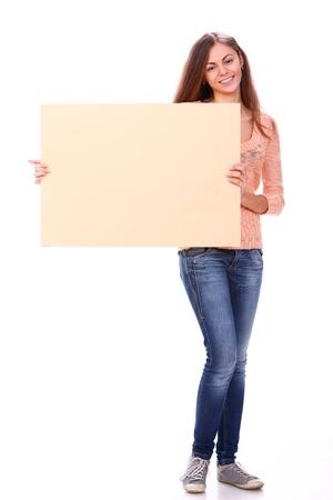 one sheet: Donna attraente e bella � in possesso di bandiera in bianco
