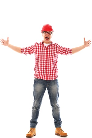 Funny Man with glasses in red helmet on a white background photo