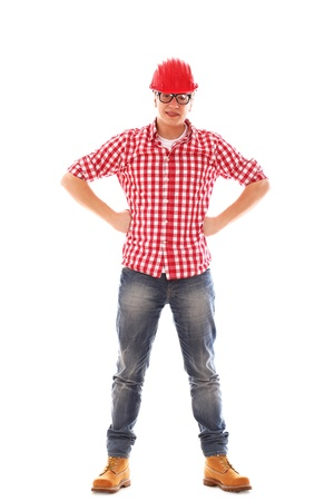 Portrait of Man with glasses in red helmet on a white background Stock Photo - 16717802