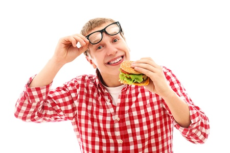 Funny man in glasses eating hamburger isolated on a white photo