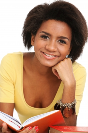 Young and beautiful afro woman studying with books Stock Photo - 16749690