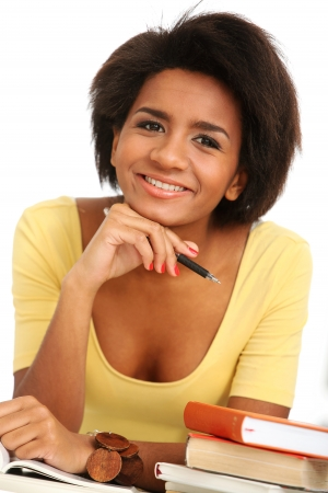 Young and beautiful afro woman studying with books Stock Photo - 16749623