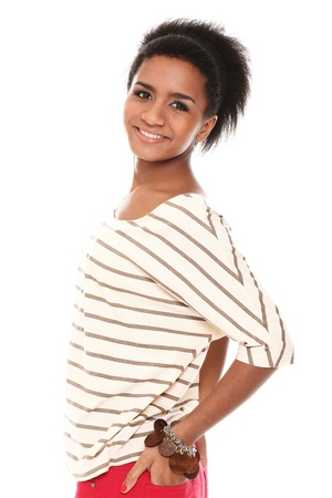 Young smiling black woman in studio isolated on a white Stock Photo - 16749610
