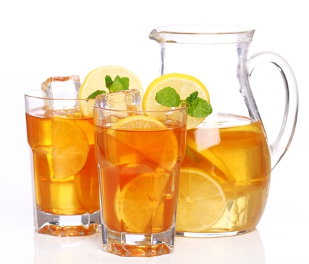 iced tea: Fresh and cold ice tea with sliced lemon and mint