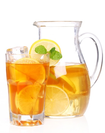 ice tea: Fresh and cold ice tea with sliced lemon and mint