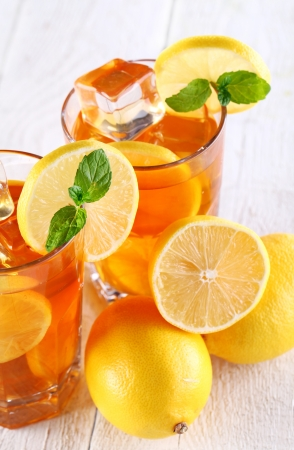 Fresh and cold ice tea with sliced lemon and mint Stock Photo - 16819720