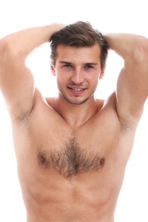 naked male body: Handsome guy with naked torso isolated on a white