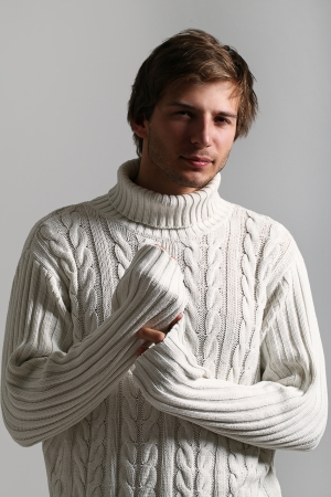 Portrait of Beautiful and attractive man in white sweater Stock Photo - 16821548
