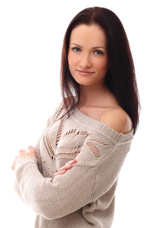 Beautiful brunette smiling portrait over a white background photo