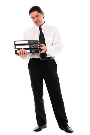 Mid aged office worker holding folders over a white background photo