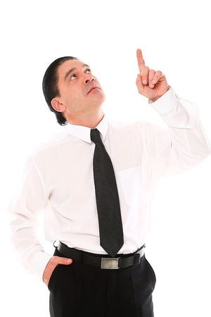 Mid aged man in a suit pointing with finger over a white background Stock Photo - 16833408