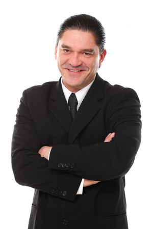 Confident mid aged man in suit posing in studio over a white background Stock Photo - 16832916