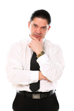 Mid aged businessman thinking over a white background Stock Photo - 16832944