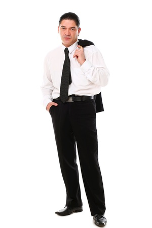 Confident mid aged man in suit posing in studio over a white background Stock Photo - 16832701