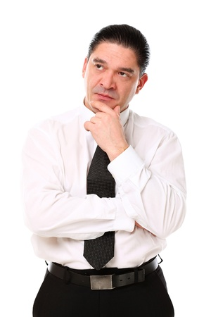 Mid aged businessman thinking over a white background Stock Photo - 16833398
