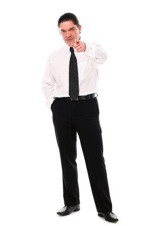 Seus mid aged businessman pointing on you over a white background Stock Photo - 16832675