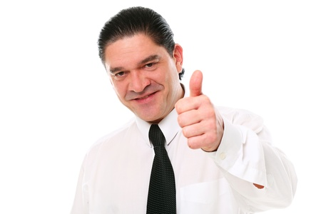 Smiling mid aged businessman showing thumbs up over a white background Stock Photo - 16832969