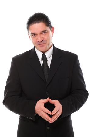 Confident mid aged man in suit posing in studio over a white background Stock Photo - 16832996