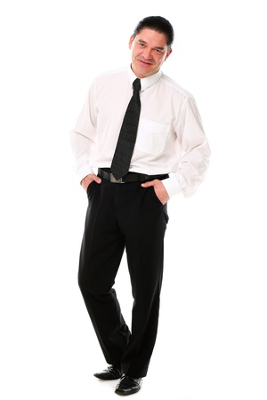 Confident mid aged man in suit posing in studio over a white background Stock Photo - 16832673