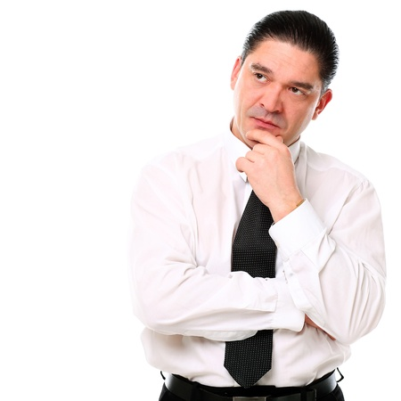 Mid aged businessman thinking over a white background Stock Photo - 16832761