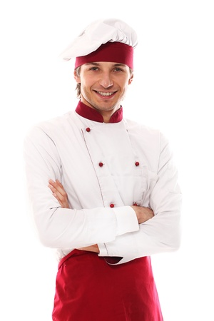 Young and handsome cook smiling portrait over a white background Stock Photo - 16832903