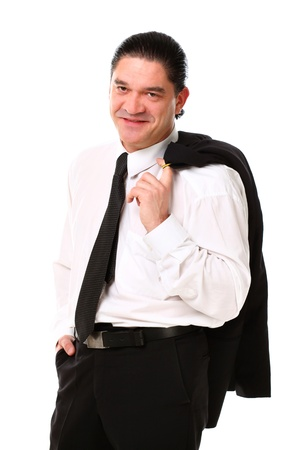 Confident mid aged man in suit posing in studio over a white background Stock Photo - 16832764