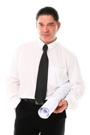 Mid aged architect holding building plans over a white Stock Photo - 16833004