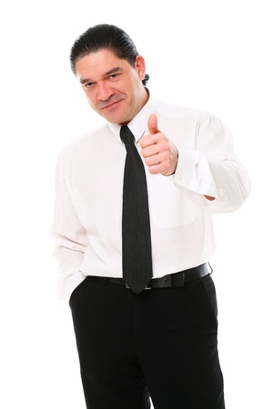 Smiling mid aged businessman showing thumbs up over a white background Stock Photo - 16832879