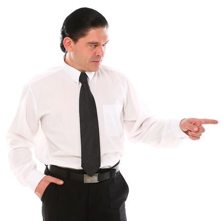 Mid aged man in a suit pointing with finger over a white background photo