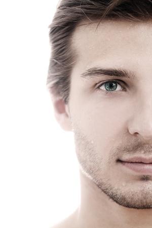 man face: Charmant en knappe man half gezicht close-up Stockfoto