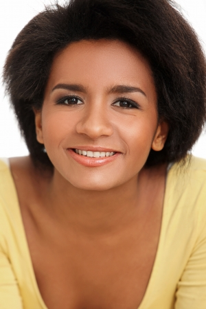 Beautiful and attractive black woman portrait isolated on a white Stock Photo - 16998781
