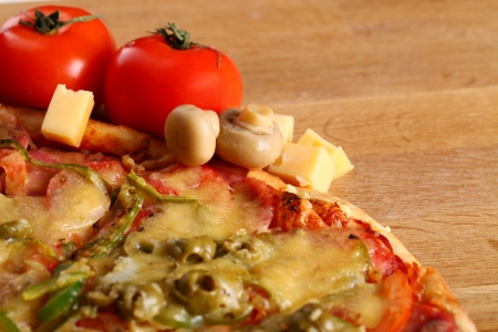 suface: Image of fresh italian pizza on a wooden suface