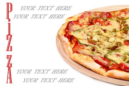 Image of fresh italian pizza isolated over white background Stock Photo - 17110926