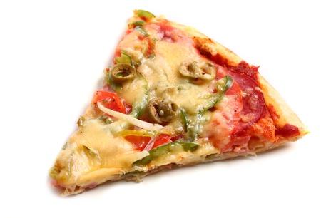 Slice of fresh italian pizza isolated over white background Stock Photo - 17110761