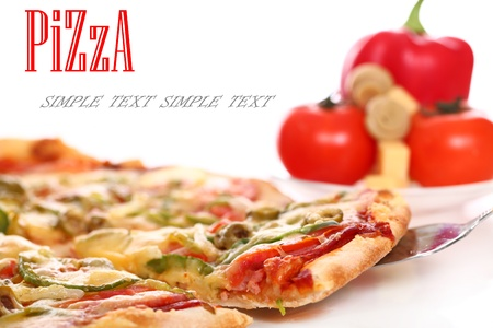 gourmet pizza: Image of fresh italian pizza and vegetables isolated over white background