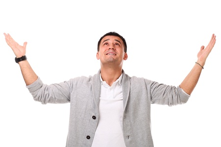 Young caucasian handsome man confused isolated over white background photo