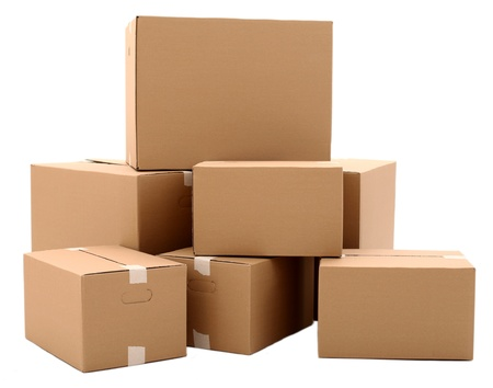 moving office: Cardboard boxes isolated over white background