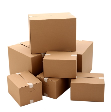 warehouse storage: Cardboard boxes isolated over white background