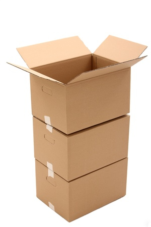 Cardboard boxes isolated over white background Stock Photo - 17721397