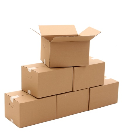 Cardboard boxes isolated over white background Stock Photo - 17721424